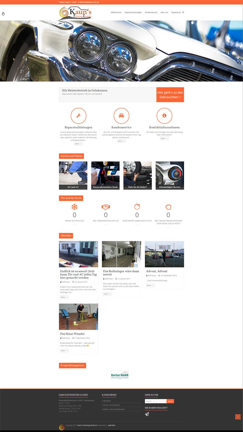 Webseite für Kauns Kfz von gekrAKel